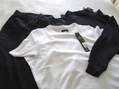 K's purchases, navy blue jogging suit and white t-shirt.