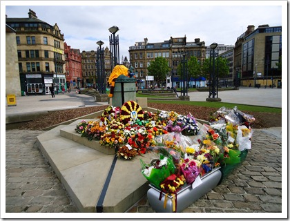Memorial for Bradford City Football stadium fire.