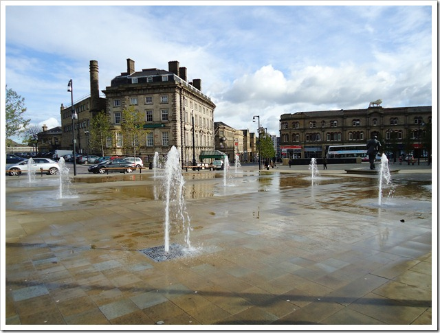 Fountains outside Huddersfield Station